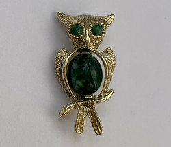 Green Belly Owl Brooch Pin Vintage Small Gold Tone - $10.26
