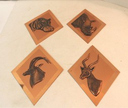 Mid Century Modern Copper Wall Art African Animals - $20.00