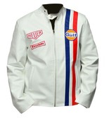 Mens Steve McQueen Le Mans White Gulf Racing Style Stripes White Leather... - $69.29+