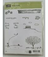Stampin Up retired HAPPY HOME Stamp set - Kite Trees Bench Dog Seasonal ... - $19.99