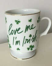 Vintage Lefton China LOVE ME IM IRISH Shamrock Clover Cup  w/sticker - $17.82
