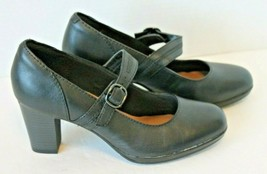 Clarks Collection Womens 8 Mary Jane Shoes Black Leather Pumps New Condition 8 - $33.74