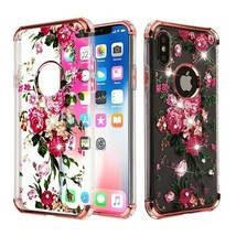For APPLE iPhone XS/X Pink Peony Diamante Klarion Candy Skin Case Cover - $11.07