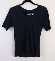 Tommy Bahama 100% Organic Cotton Black V-Neck T-shirt Women's Size S (4-6) - $21.73