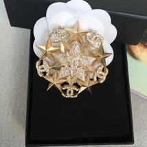 AUTHENTIC CHANEL CRYSTAL CC STAR RHINETONE GOLD BROOCH PIN MINT RARE