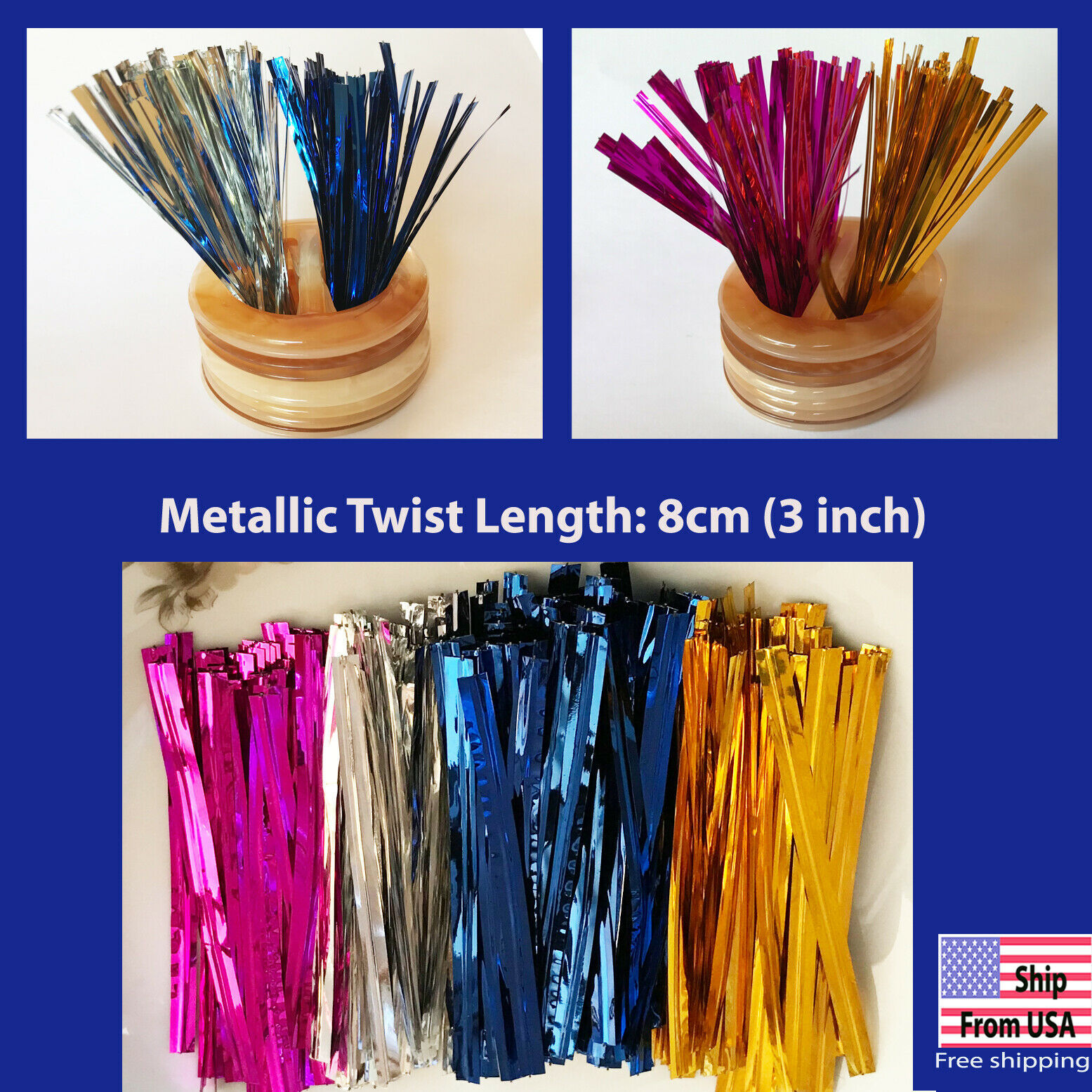 Primary image for Metallic Twist ties for Gift Candy Lollipop Cake Bread Bag Party 8 cm 3 inch USA