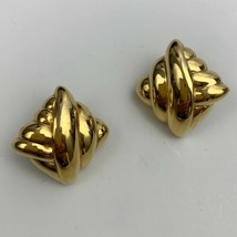 Signed PEP Chunky Gold Tone Pierced Earrings Vintage Ribbed Shiny Glossy - $17.77