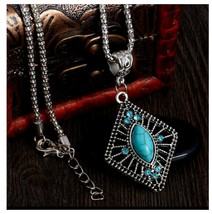 Turquoise Pendant Necklace  With Chain, Antique Silver Vintage Style - $3.99