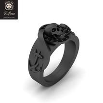 Symbol Of Death Skull Engagement Band Unisex Gothic Wedding Jewelry Anchor Band - $219.99