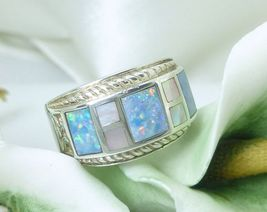 Australian Opal Doublet & Mother-of-Pearl Sterling Ring Size 7 - $72.00