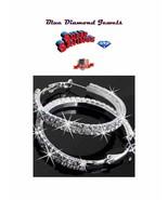 Eternity Hoops 6ct CZ's  Hoop Earrings HOT BLING Silver Plate US SELLER ... - $13.95