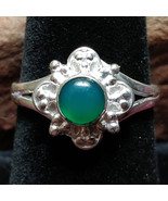 Green Onyx Silver handmade gemstone ring size 8.5 #003 - $30.00