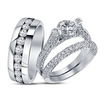 Men's Women's Jewelry 925 Silver 14K White GP Engagement & Wedding Trio Ring Set - $131.48