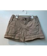 Merona Flat Front Casual Chino Shorts Women's Beige Tan Cotton Size 2 - $12.95