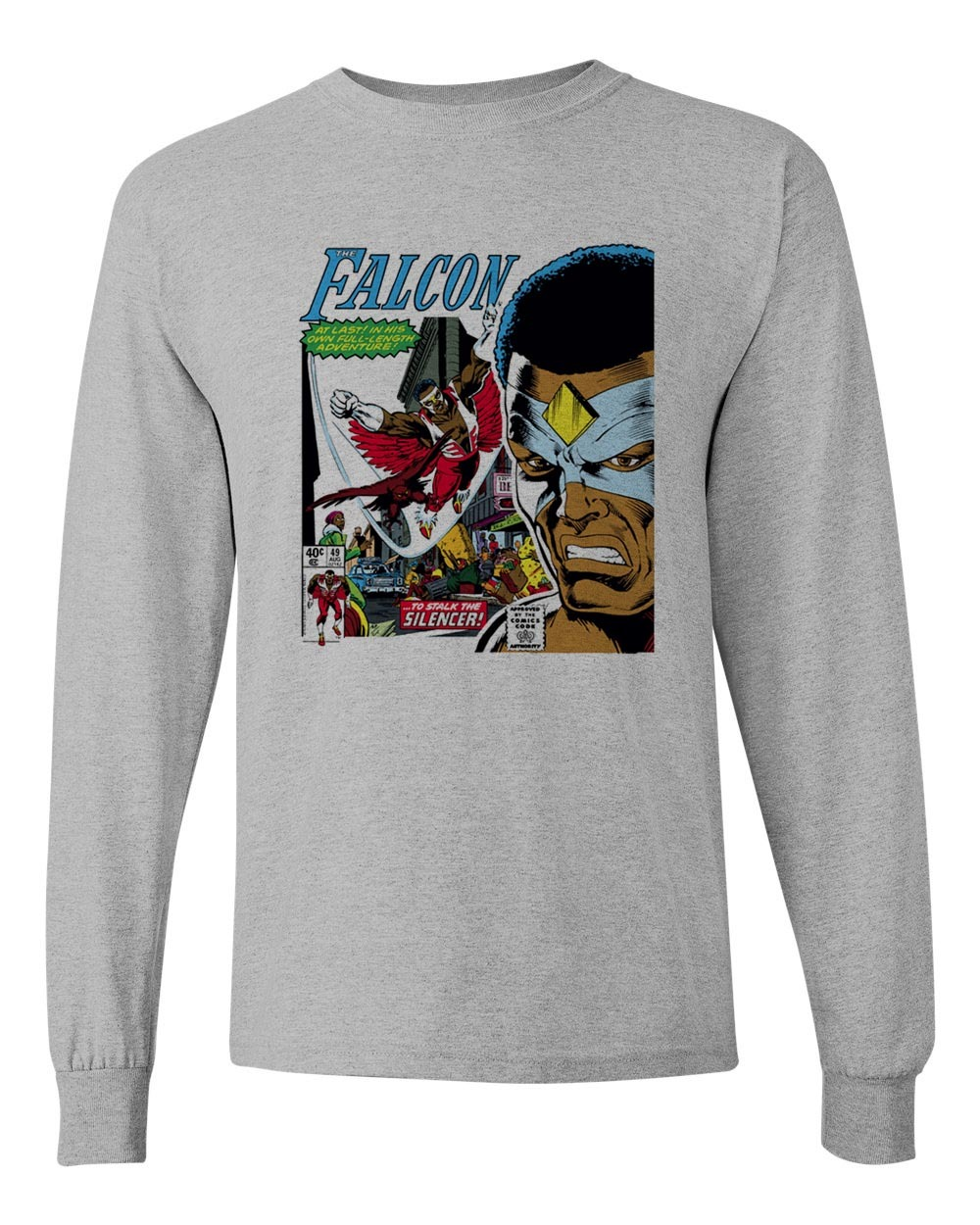 The Falcon 1st Cover T-shirt retro 1970's marvel comics silver age long sleeve