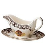 SPODE Woodland Turkey Sauceboat and Stand $89 - FREE SHIPPING OR PICK UP - £66.24 GBP