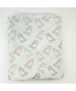 Cloud Island Birds Baby Swaddle Blanket Pink White Muslin Gray Peach Gir... - $19.99