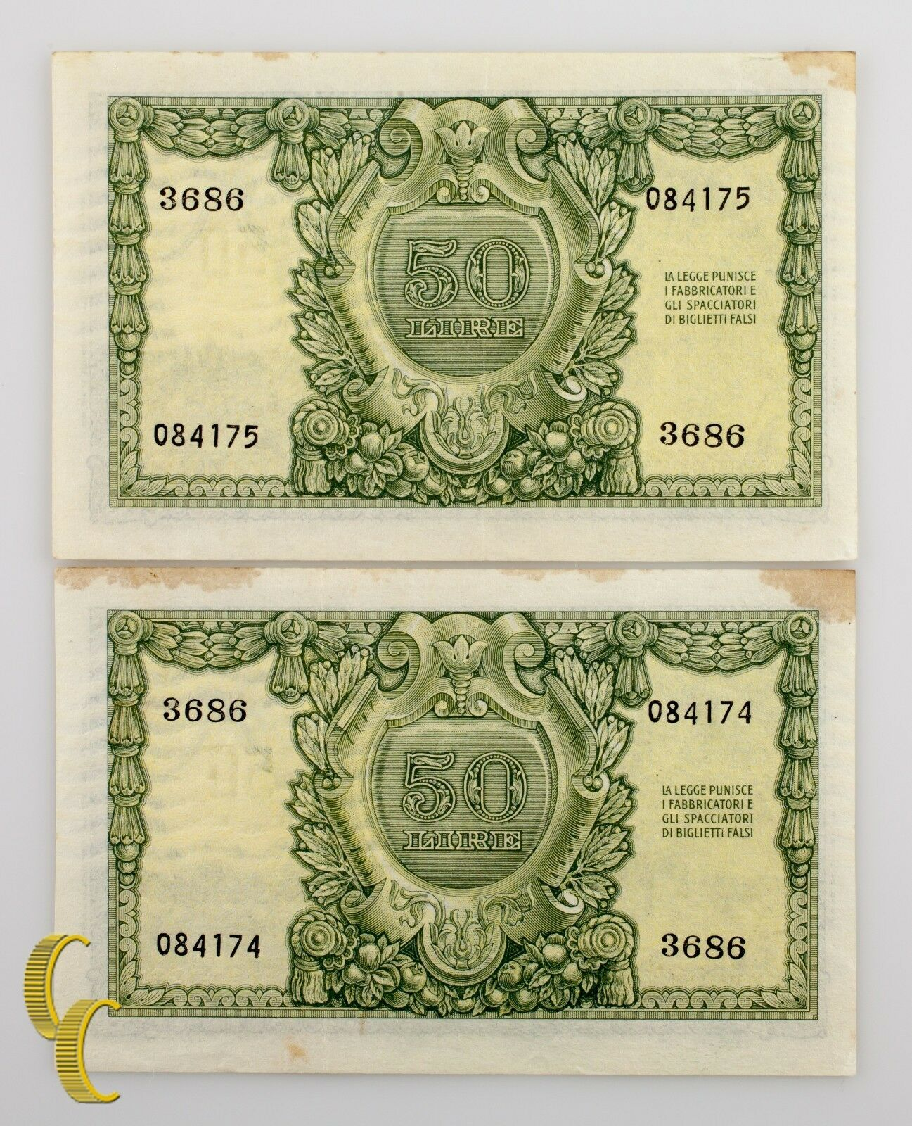1951 Italia 2 Sequentially Numerada 50 Lira (Au ) About Uncirculated Estado