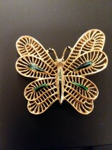 Vintage Designer Marked Gerry's Gold Tone and Green Butterfly Brooch Pins - $6.82