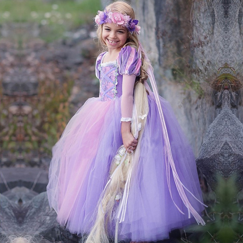 Short Sleeve Sexy Purple Tulle Pricess Wedding Flower Girls Dresses Party Gowns