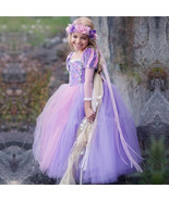 Short Sleeve Sexy Purple Tulle Pricess Wedding Flower Girls Dresses Part... - $30.80
