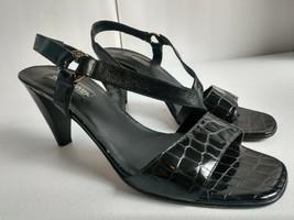 "Brighton Rhodes Black Leather Heels Womens Size 9.5 Medium 3"" Heel Made ... - $33.73"