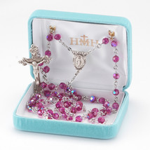 All Sterling Silver Rosary made with Round Fuschia Swarovski Crystals - $199.12