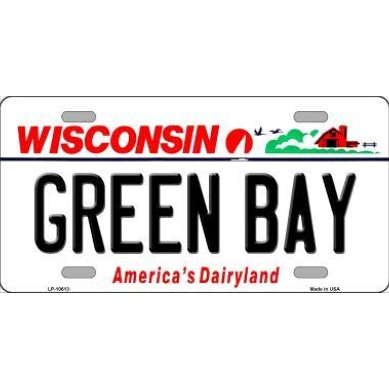 Packers Wisconsin State Background Novelty Metal License Plate Tag (Green Bay)