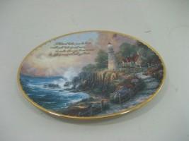 Thomas Kinkade Oval Decorative Collector Plate Gold Trim The Light of Peace - $13.98