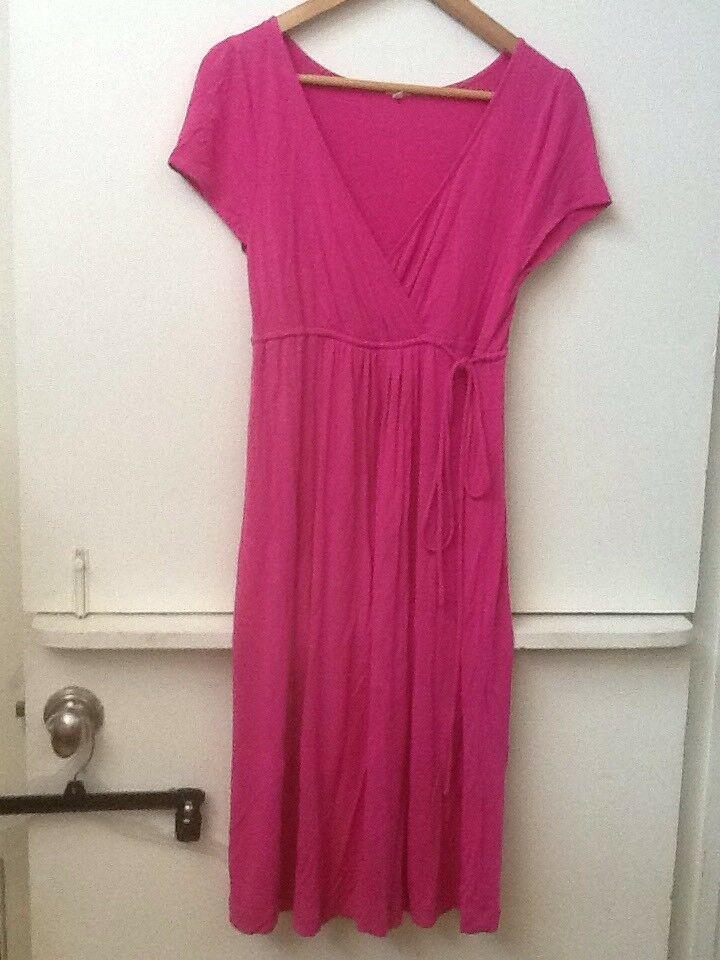 J Crew Pink Stretchy Rayon Jersey Knit Cross Body Dress Drawstring Waist S Small