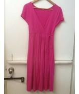 J Crew Pink Stretchy Rayon Jersey Knit Cross Body Dress Drawstring Waist... - $19.95