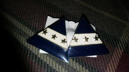 Vintage Gold Tone Blue Enamel Pyramid Stars Clip On Earrings - $9.85