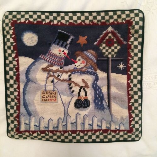 Primary image for Needlepoint Christmas Pillow Cover Snowman Couple Velveteen Back Zipper 13 X 13