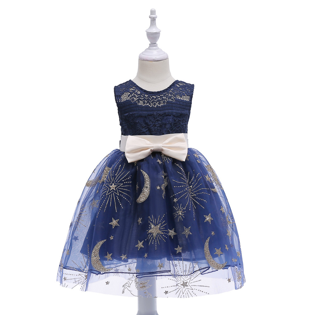Primary image for Knee Length Flower Girl Dresses Navy Blue Kids Dress Children Dress with Bow