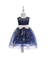Knee Length Flower Girl Dresses Navy Blue Kids Dress Children Dress with... - $35.67 CAD