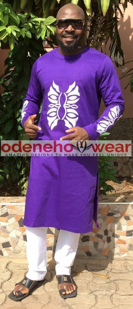Odeneho Wear Men's Purple Polished Cotton/Embroidery. African Clothing. - $148.50 - $168.29