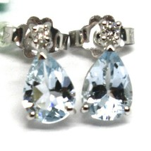 18K WHITE GOLD AQUAMARINE EARRINGS 1.20 CARATS, DROP CUT, DIAMONDS, ITALY MADE image 2