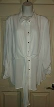 Alfani White Roll Tab Sleeve Gold Buttons Tie Front Blouse Top Tunic Siz... - $28.71