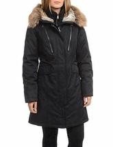 1 Madison Expedition Parka Coat Womens Black Anorak Faux Fur Hood L XL