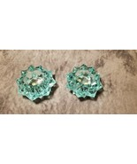 PAIR OF STARBURST CRYSTAL TURQUOISE STAR SHAPED VOTIVE CANDLE HOLDERS  - $60.00