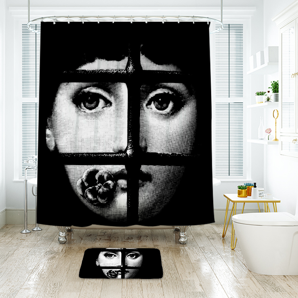 Beauty Face 1 Shower Curtain Waterproof Polyester Fabric & Bath Mat For Bathroom