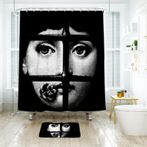 Beauty Face 1 Shower Curtain Waterproof Polyester Fabric & Bath Mat For Bathroom image 1