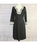 Land's End Women's Black & White Ponte Knit 3/4 Sleeves Midi Sheath Dres... - $28.02