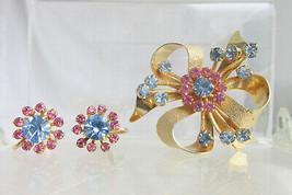Vintage Pink Blue Rhinestone Handset Bow Flower Pin Brooch Earrings Scre... - $31.49