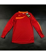 Under Armour Boys Youth S Red Padded Soccer Shirt Jersey heatgear Loose Fit NWT - $23.38