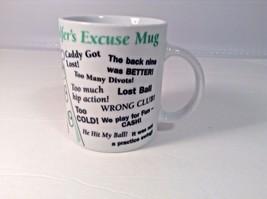 """Golfers Excuse Mug Cup Golf  3.5"""" tall x 3.25"""" diam Caddy got lost etc - $11.30"""