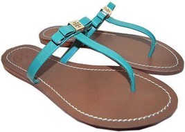 Tory Burch 'leighanne' Thong Sandal Turquoise Bow Shoe Flip Flop Flat Sh... - $99.91