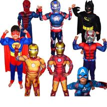 Boys Muscle Super Hero Captain America Costume Spiderman Batman Hulk Ave... - $26.94+