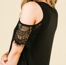 Black Cold Shoulder Top, Lace Cold Shoulder Top, Cut Out Sleeve Top, Womens image 4