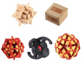 Puzzle Game 5Pcs Set Wooden Brain Teaser Adults Kids Children Toy For Pl... - $31.35